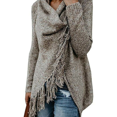 (Khaki, S = UK 8) Womens Knitted Poncho Jumper Sweater Cardigan Tassel Fringe Shawl Tops Warm Coat
