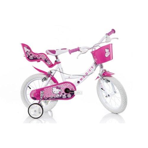 Dino Hello Kitty White Girls Bike w/ Doll Carrier