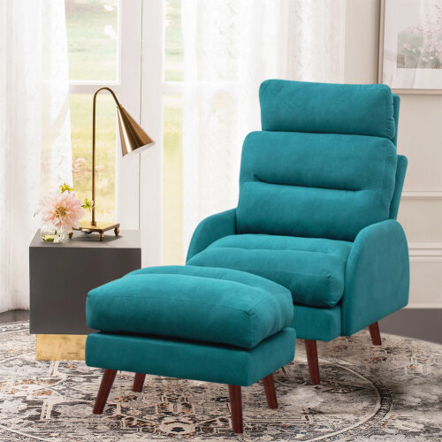 Velvet Upholstered Recliner Lounge Chair Armchair Sofa Couch Foot Stool