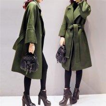 Army Green Woolen Coat Women 2017 Long Parkas Manteau Femme Elegant Winter Coat Women Flare Sleeve Belt Wool Jacket Female C3617