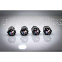 modifix_co_uk BMW M Sport Set of 4 Genuine Modified Black Logo Tyre Valve Caps Valves