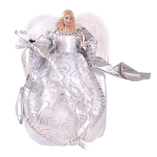 The Christmas Workshop 83960 12-Inch 30 cm Traditional Christmas Tree Top Angel, Silver