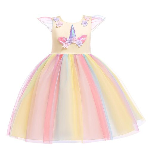 (Yellow, 110 CM) Girls Princess Dress Unicorn Fairytale Wedding Skirt Birthday Cosplay Party
