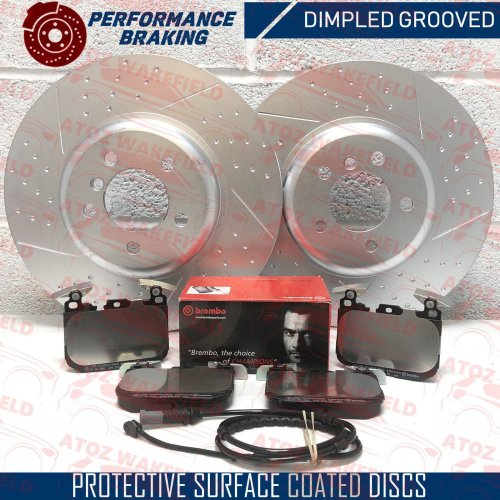 FOR BMW 340i FRONT DIMPLED GROOVED PERFORMANCE BRAKE DISCS BREMBO PADS 370mm