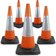 5 x 750mm High Quality Road Traffic Cones - Street Solutions UK