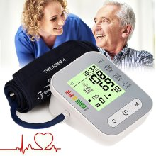 Digital Upper Arm Blood Pressure Monitor Meter Intelligent 198 Memory with Cuff