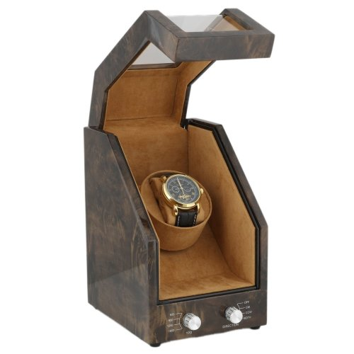 Single Watch Winder in Dark Burl Wood Premier - Range by Aevitas