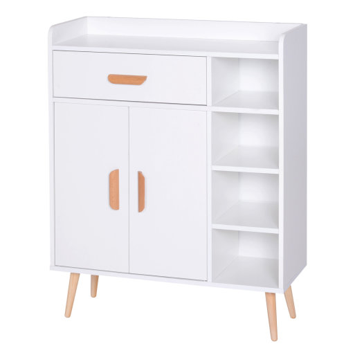 HOMCOM Side Cabinet Hallway Storage Unit Home Console Table Organiser White
