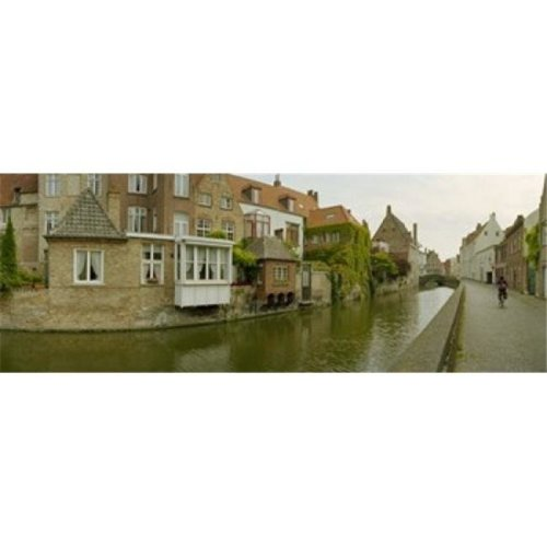 Houses along a channel  Bruges  West Flanders  Belgium Poster Print by  - 36 x 12
