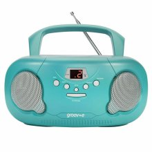 Groov-e Original Boombox Portable CD Player?AM/FM Radio?3.5mm Aux-In?PS733?Teal
