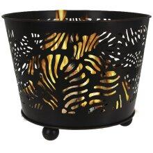 idooka Large Round Black Metal Fire Pit Bowl Log Basket - Raised Portable Garden Terrace Patio Heater - Indoor Log Storage - Outdoor Firepit