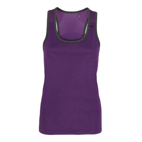 (Purple/Charcoal, S) TriDri Womens Panelled Fitness Gym Running Sports Fitness Workout Vest Top Tee