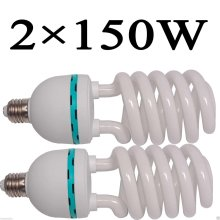 2 Continuous Photo Daylight White E27 CFL Lighting Lamp Bulb 150W 5500k Professional Fluorescent Balanced Energy Saving Bulb for Photography and Video