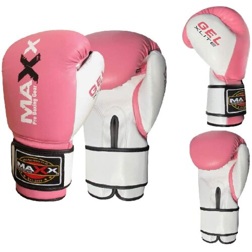 (4oz) Maxx Pink Glove for Adults | Kids junior boxing gloves Rex leather 4oz - 16oz - Pink Training Gloves