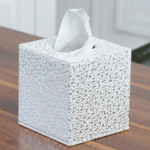Tissue Box Tissue Holder Rectangular Cube Cover Silver