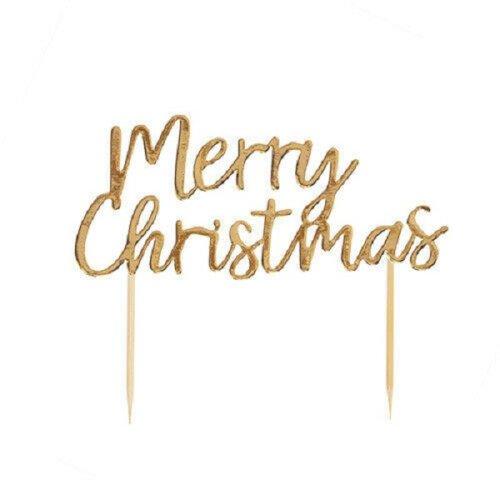 Neviti Merry Christmas Cake Topper - Rose Gold Foil