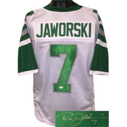 Athlon Sports CTBL-022394 No.7 JSA Witnessed Hologram Ron Jaworski Signed White TB Custom Stitched Pro Style Football Jersey