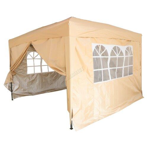 (Beige) Birchtree Waterproof Pop Up Gazebo   Garden Party Tent - 3 x 3m