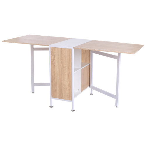 Homcom Foldable Dining Table - Oak & White | Folding Computer Desk