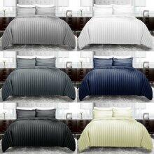 Satin Stripe Duvet Quilt Cover Bedding Set