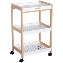 HOMCOM Mobile Serving Trolley Kitchen Cart Pine Wood Rolling Wheels White