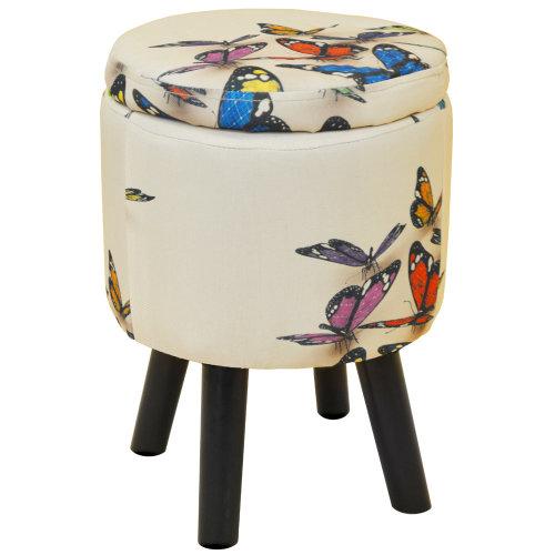 BUTTERFLY - Contemporary Retro Round Padded Storage Stool - Cream / Multi