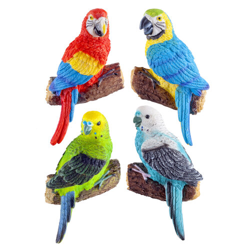 Set of 4 Wall Mountable Tropical Parrot & Parakeet Bird Ornaments