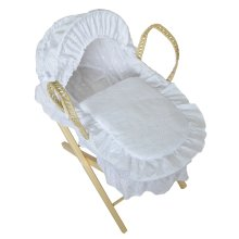 Beautiful Dolls Moses Basket Broderie Anglaise White (Basket Only)