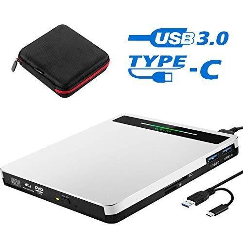 External CD DVD Drive, Slim CD DVD +/-RW Drive Player Burner Writer Reader Rewriter,Optical DVD Drive for Desktop/Laptop/MacBook/Windows/PC with SD
