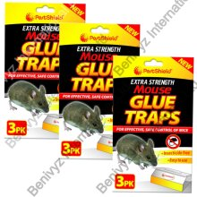 9 X PestShield EXTRA STRENGTH Mouse & Rat Sticky Glue Traps Boards