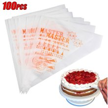 100 x Disposable Piping Bag Icing Fondant Cake Cream Decorating Pastry Tip Tools
