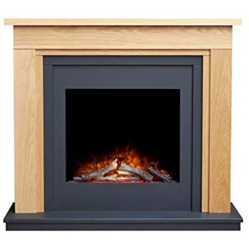 Adam Brentwood Electric Fireplace Suite in Oak & Charcoal Grey with Ontario Electric Fire, 43 Inch
