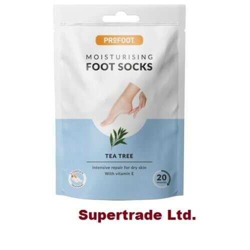 3 X PROFOOT Moisturising Foot Socks With Tea Tree & Vitamin E Soften Dry Foot