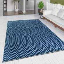 Outdoor Rug Navy Blue with Light Blue Chevron Zig Zag Decking Garden Patio Gazebo Large Small Soft Geometric Mat