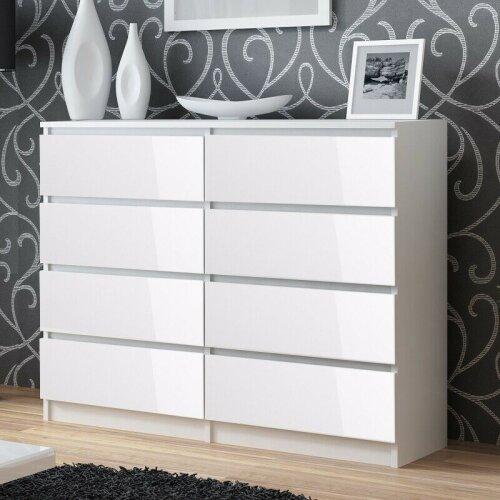 (Gloss White) Narvik 8 Drawer Chest of Drawers - Modern Design