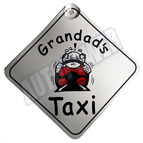 Grandad's Taxi Suction Cup Safety Fun Car Display Window Badge New On Board Sign