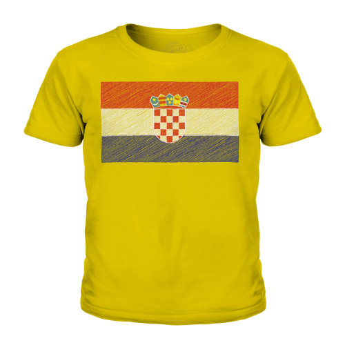 (Gold, 7-8 Years) Candymix - Croatia Scribble Flag - Unisex Kid's T-Shirt