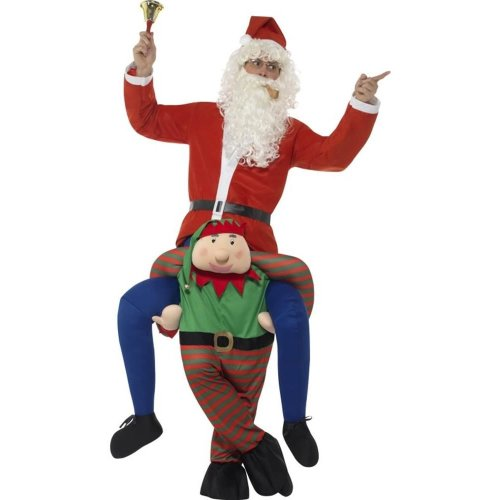 Piggyback Elf Costume, Christmas Adult Fancy Dress, One Size