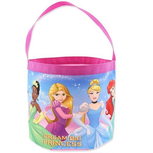 Disney Princess Girls Collapsible Nylon Halloween Bucket Toy Storage Tote Bag (One Size, Pink)