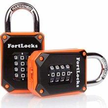 2 Pack FortLocks Gym Locker Lock - 4 Digit, Heavy Duty, Hardened Stainless Steel, Weatherproof and Outdoor Combination Padlock - Easy to Read...