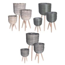 idooka Indoor Plant Pots Plastic Set of 3 - Large Wooden Planters Woven Plant Pot Set with Tall Plant Stand Included - Dark Green/Beige/Grey Plant Pot