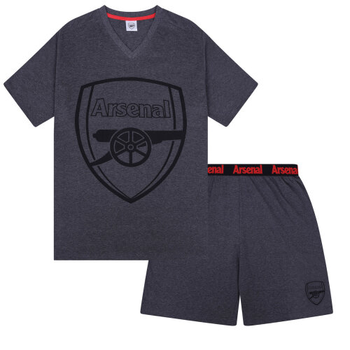 (Grey, Medium) Arsenal FC Official Football Gift Mens Short Pyjamas Loungewear