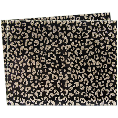 Set of 2 Black Gold Glitter Printed Glass Heat Resistant Table Dining Placemats