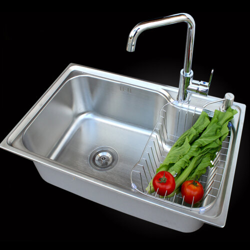Modern Square Stainless Steel Kitchen Sink Single Bowl Laundry Caterin