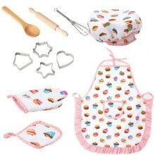 11pcs Kids Chef Apron Hat Set Children Cooking Baking Role play