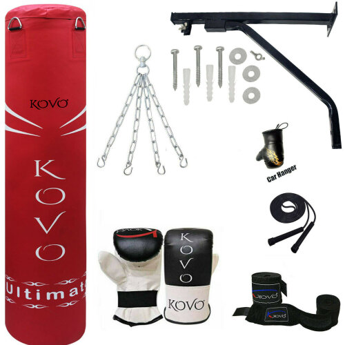 Kovo 5ft Filled Home Boxing Bag | Heavy Boxing Set Home Boxing