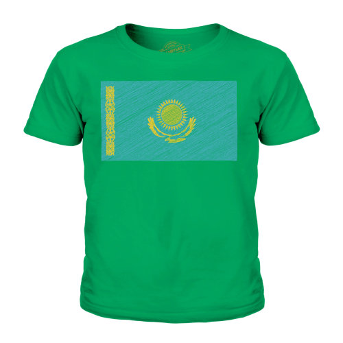 Candymix - Kazakhstan Scribble Flag - Unisex Kid's T-Shirt