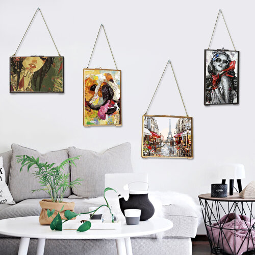 Metal&Glass two Sided Hanging Photo Picture Frame