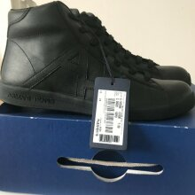 Armani Jeans Black AJ Hi-top Leather Trainers Sneakers Shoes UK 8