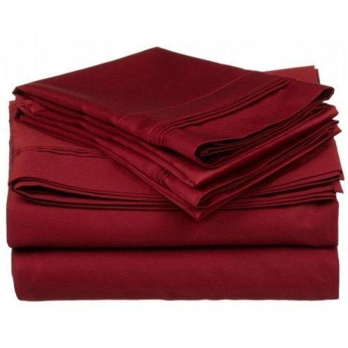 Egyptian Cotton 650 Thread Count Solid Sheet Set  Split King-Burgundy